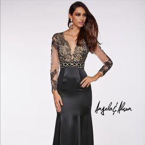 ANGELA & ALISON 51009 FORMAL DRESS  Black Satin